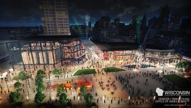 The new updated plans for an entertainment center just east of the future Milwaukee Bucks arena show a glassy structure with up to four levels. This view is looking east from the future arena.
