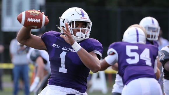 New Rochelle quarterback Jonathan Saddler during the