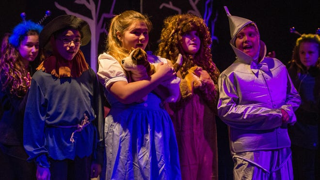 """Brody Walker, 11, Phoenix Woods, 12, Trey Menard, 11, and Chase Poirrier, 11, rehearse a scene of Kidz Kabaret's producton of """"The Wizard of Oz"""" at Cité des Arts."""