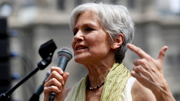 Green Party presidential nominee Dr. Jill Stein, in happier times at a Philadelphia rally on July 26. She accidentally flew into Cincinnati's airport on Friday instead of Columbus.