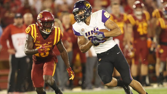 Northern Iowa Panthers wide receiver Isaiah Weston (80) picks up yardage against Iowa State earlier this season at Jack Trice Stadium.