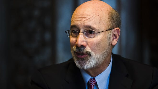 In this Tuesday, Jan. 2, 2018 photo, Pennsylvania Gov. Tom Wolf speaks during an interview with The Associated Press at his office in Harrisburg, Pa. (AP Photo/Matt Rourke)