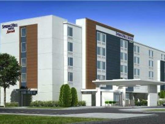 A rendering of the SpringHill Suites by Marriott proposed