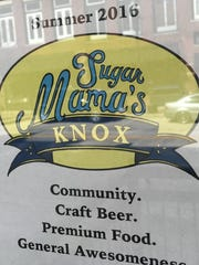 A sign on the door of Sugar Mama's, when it announced its opening in 2016, lists the mission in order of priority with community coming first.