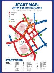 AJC Peachtree Road Race Start map (Photo: AJC PTRR)