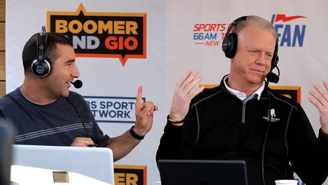 "Jerry Recco (left) and Boomer Esiason are shown during WFAN's ""Boomer and Gio Show"" Kick Off to Summer live broadcast at the Headliner in Neptune."