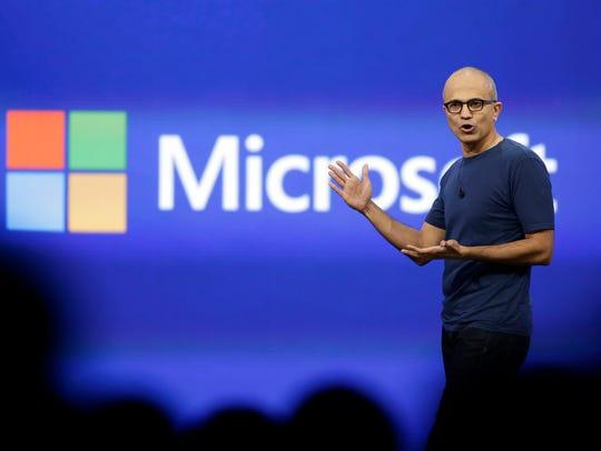 Microsoft CEO Satya Nadella  at the company's developer