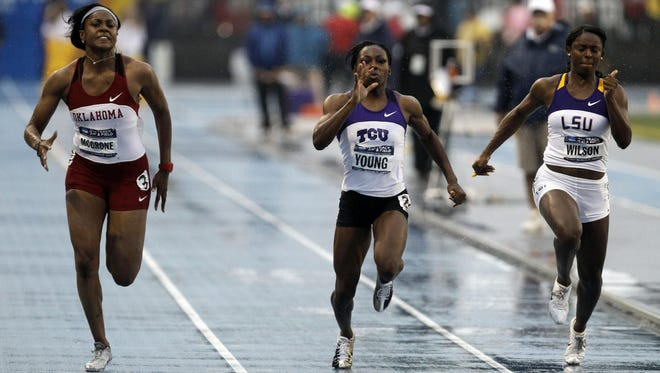 Oklahoma's Candyce McGrone, a former Warren Central sprinter, won the 100 meters for Oklahoma in 2011 at Des Moines, Iowa.