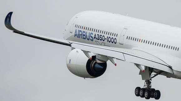 The first Airbus A350-1000 takes off on its maiden