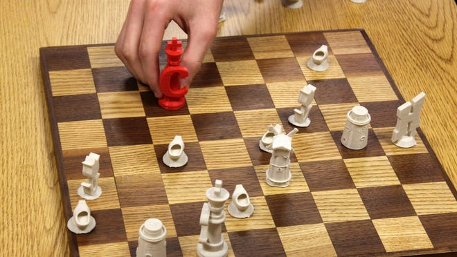 A $7,500 grant will allow Holland Middle School to establish an Innovation Lab with tools like 3D printers, which were used by HMS students to create this Holland-themed chess set.