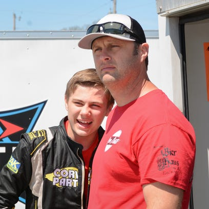 Family racing fun gets serious as two talented boys give Travis Kvapil a run for his money