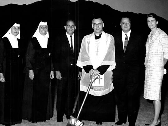 Dedication of St. Theresa Church in Palm Springs. Left to right are Sister Jeanette, Rev. Mother Humiliata, Vice Mayor George Beebe, Rev. Michael Nolan, William Cody and Linda Hope.