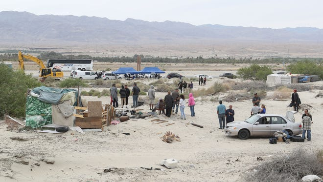 Caltrans and social services set up tents to help relocate a group of homeless that are being forced off of Caltrans' land near Dillon Rd. and Hwy 86.