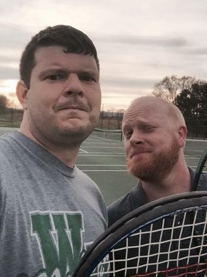 Andy Sandrik, left, resumed an old tennis rivalry with his friend Andy O'Brien last week.