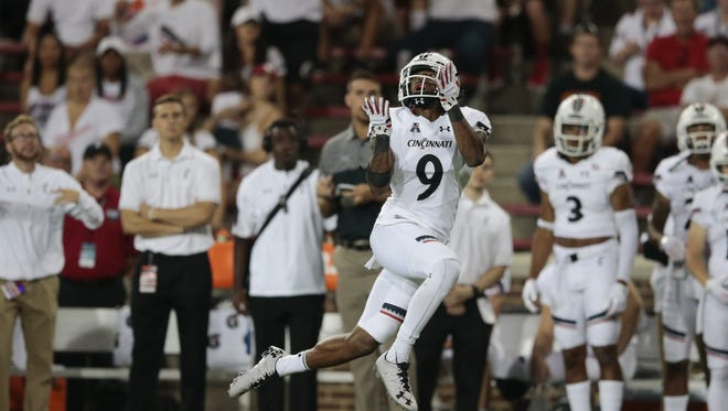 Cincinnati Bearcats cornerback Linden Stephens intercepts a pass in the Bearcats' 2016 opener against UT Martin. Stephens will be one of the veteran anchors in the UC secondary.