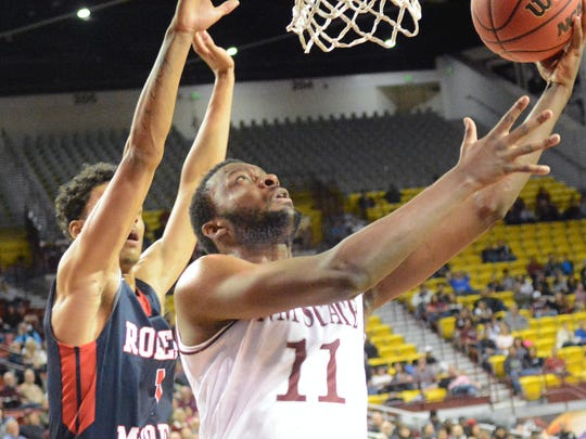 New Mexico State's Johnathon Wilkins returned to the Aggie lineup on Tuesday night.