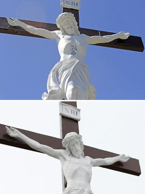 "The words ""hail satan"" and satanic symbols have been removed from a Jesus Christ grave marker at St. Peter and St. Paul Cemetery in Elmira, as shown in before-and-after photos."