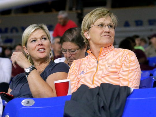 Celeste Middleton, left and UT women's basketball Coach, Holly Warlick, prepare to watch Riverdale play Morristown West in the State Tournament quarterfinals, on Wednesday March 9, 2016, at MTSU.
