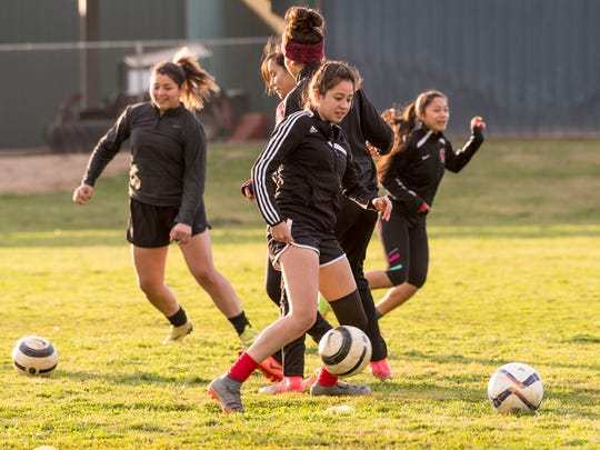 Orosi's Marissa Quezada practices with her soccer team on Monday, February 12, 2018.