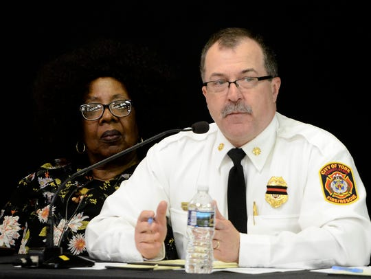 York City Fire Chief David Michaels gives residents