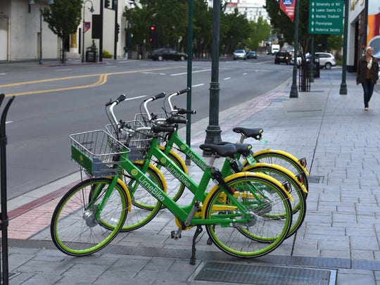 LimeBike has partnered with Plainfield to offer a bike share program, making the city the first in the state to partner with the company. This file photo shows LimeBike bicycles in Reno, Nevada.