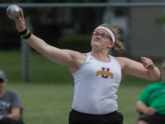Unioto's Autumn Mohan took first place in the girls shot put at the Division II Finals on Tuesday, May 15, 2018, with a distance of 41-07.50.