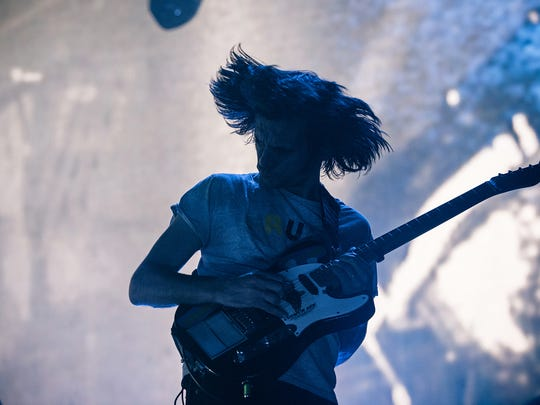 Jonny Greenwood of Radiohead performs with the band at Little Caesars Arena in Detroit on July 22, 2018.