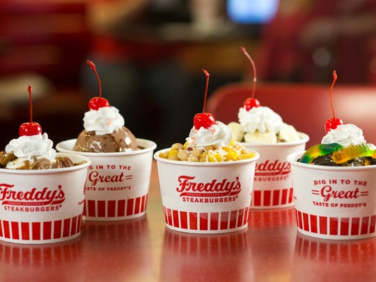 A sampling of sundaes made with Freddy's popular frozen custard.