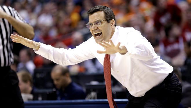 Nebraska Cornhuskers head coach Tim Miles gets after his defense against the Rutgers Scarlet Knights at Bankers Life Fieldhouse in Indianapolis on March 9, 2016.