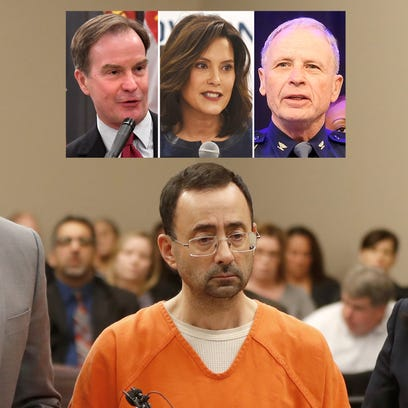 Clockwise from top left:  Bill Schuette, Gretchen Whitmer,