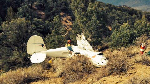 The Carson City Sheriff's Office released this photograph of a Cessna 120 that crashed southeast of Carson City. The wreckage was seen on Sunday.