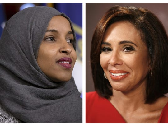 U.S. Rep. Ilhan Omar, D-Minn., left, has not filed a $100 million lawsuit against Fox News host Jeanine Pirro, despite what stories say.