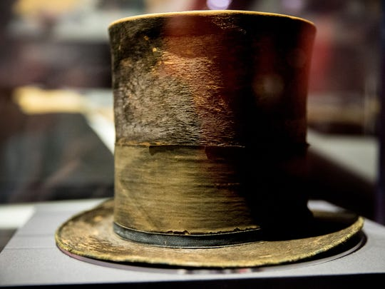 "President Abraham Lincoln's top hat from the night of his assassination is on display at a new exhibit entitled ""Silent Witnesses: Artifacts of the Lincoln Assassination"" at the Ford's Center for Education and Leadership across the street from the historic Ford's Theatre where President Abraham Lincoln was killed, in Washington."