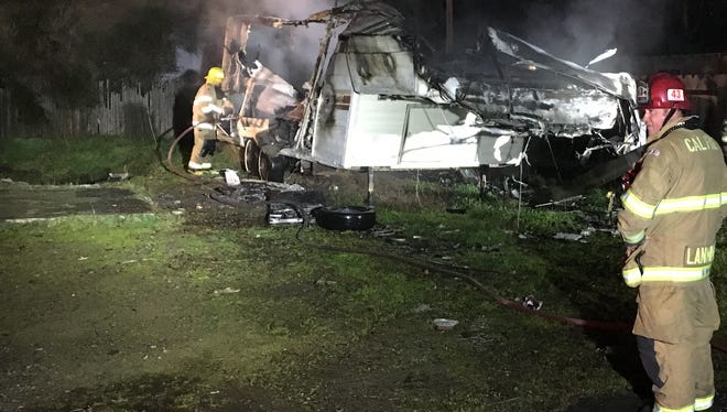 An Anderson Fire Protection District official said Monday night that they were investigating whether a honey oil lab caused an explosion that destroyed a trailer.