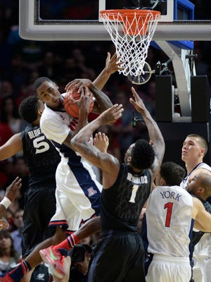 March 26, 2015; Los Angeles; Arizona Wildcats forward Rondae Hollis-Jefferson (23) grabs a rebound against the Xavier Musketeers during the second half in the semifinals of the West Regional of the 2015 NCAA Tournament at Staples Center.