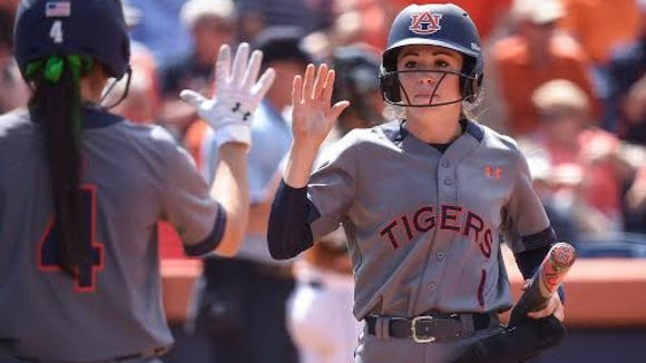 Auburn outfielder Tiffany Howard celebrates scoring