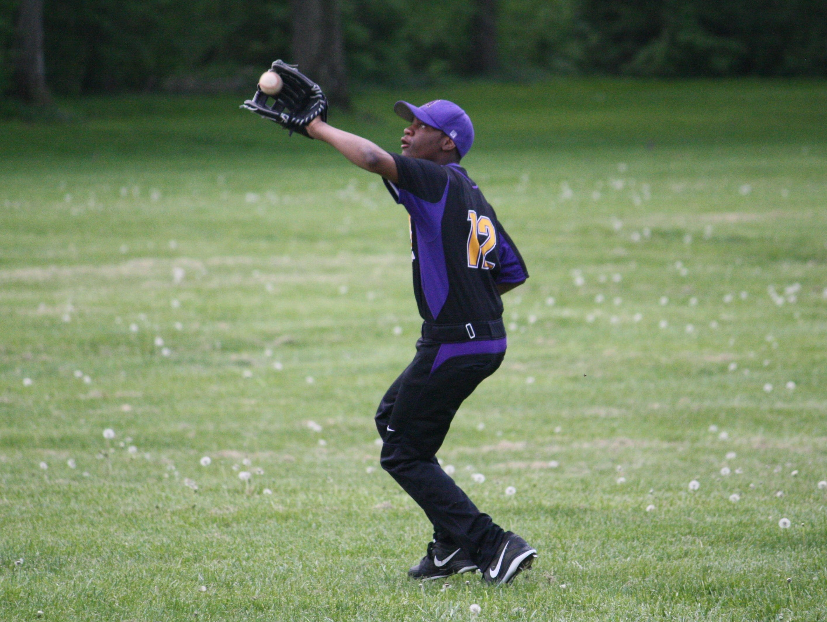 Aiken sophomore Kale Franklin makes a catch in right field against Lockland May 2.