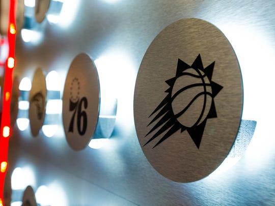 The Phoenix Suns' logo is seen on an art installation in Las Vegas at the 2018 NBA Summer League.