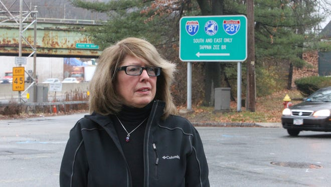 South Nyack Mayor Bonnie Christian at Cornelison Avenue and South Broadway near Village Hall in December. She is upset that the state Thruway Authority wants to connect the shared-use path on the Tappan Zee Bridge to a residential neighborhood.