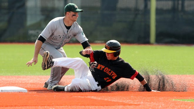 2015 NJSIAA Group III baseball semifinals finds South Plainfield battling Mount Olive at Kean University in Union on Wednesday June 3,2015. Mount Olive's # 10 (lower)- Chris Gallo slides safely into 2nd base under the tag attempt of South Plainfield's # 25 (left)- Nick Polizzano.