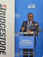 MTSU President Sidney A. McPhee gives details Tuesday,