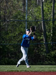 Summit Country Day's Brennan Gick catches a fly ball during their game against Cincinnati Country Day as part of the A.J. Cohen Baseball Tournament on Saturday April 16, 2016 (Phil Didion for The Enquirer)
