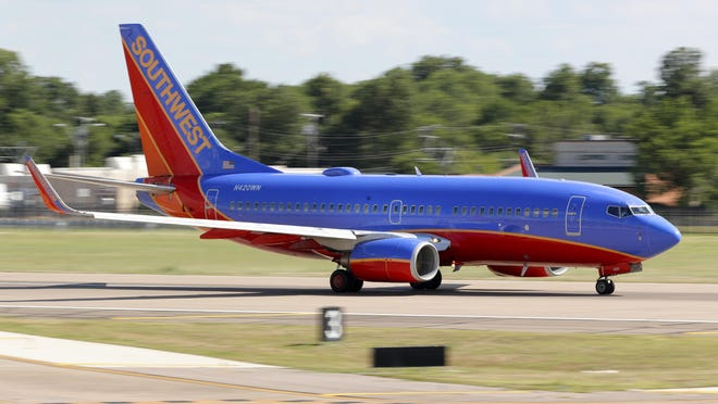 A Southwest Airlines jet takes off from Love Field in Dallas, Wednesday, June 24, 2020. New York, Connecticut and New Jersey asked for travelers from states with high coronavirus infection rates to go into quarantine for 14 days in a bid to preserve hard-fought gains as caseloads rise elsewhere in the country.
