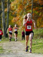 Parsippany senior Kate Bernauer comes into the finish in the NJSIAA North 2 Group II cross country championships at  Central Park of Morris County. November 4, 2017. Morris Plains, New Jersey