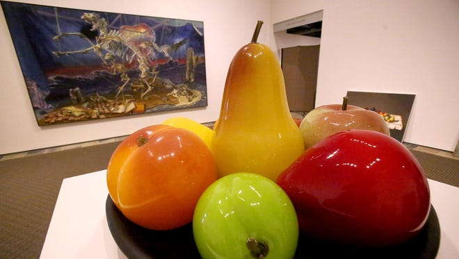 """Still Life"" by Flora Mace and Joey Kirkpatrick is blown-glass sculpture of giant fruit and a whimsical play on the traditional still-life genre. The piece is on exhibit in Hallie Ford Museum of Art's ""Stilleven: Contemporary Still Life"" through Dec. 20. In honor of the museum's 17th anniversary, admission is free on Saturday, Oct. 3."