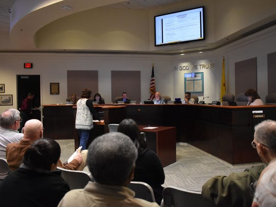 Project Manager Nancy Beshaler talks to commissioners