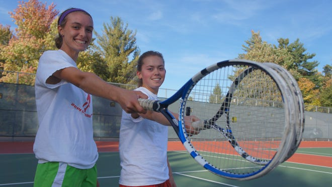 Wisconsin Rapids seniors, Kaitlyn Hess, left, and McKenzie Wentland qualified for the WIAA state girls tennis tournament in the Division 1 doubles bracket.