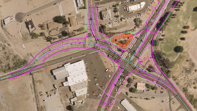 A New Mexico Department of Transportation schematic shows a project, to begin early next year, that would reconstruct the North Main Street-Solano Drive-Three Crosses Drive intersection.