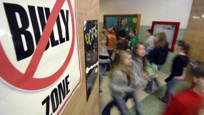 An anti-bullying message is seen at D.C. Everest Junior High in Weston.