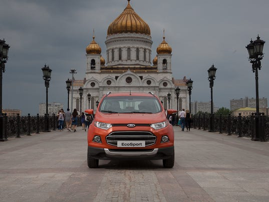 Ford EcoSport outside the Cathedral of Christ the Saviour, Russia's main cathedral